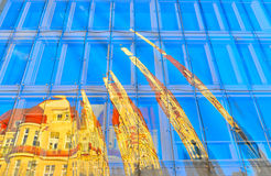 Glass facade. With reflection of a house on the opposite side of Monte Cassino Street in Sopot, Poland Royalty Free Stock Photography
