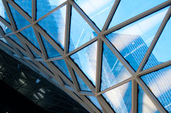 Glass facade of shopping mall Royalty Free Stock Photo