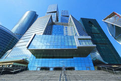 The glass facades of office buildings in Moscow city, Russia. Royalty Free Stock Photos