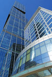 The glass facades of office buildings in Moscow city, Russia. Royalty Free Stock Images