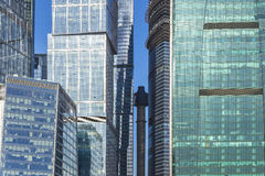 Glass facades of skyscrapers in moscow Royalty Free Stock Photo