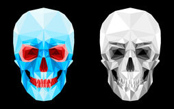 Glass faceted skull. Human skull of the faces. The glass effect. Red eye sockets and teeth. Scary spooky look. Suitable for Halloween. Isolated objects on a Stock Photography