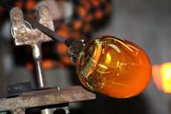 Glass factory, glassworks, glass blower Royalty Free Stock Image