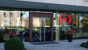 Glass fasad av en modern kontorsbyggnad med MUFG-logo Redaktörs- tolkning 3D Royaltyfria Foton