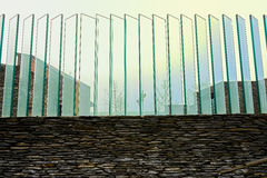 Glass fence on enclosure in afternoon sunlight Royalty Free Stock Images