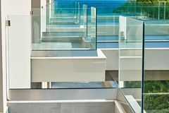Glass fence in hote. L on the sea Royalty Free Stock Photo