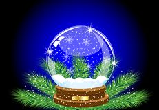 Glass festive ball on the green branches of fir-tree Stock Photos