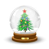 Glass festive ball with the green decorated tree inwardly. Vector illustration Royalty Free Stock Photo