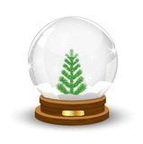 Glass festive ball with a green tree inwardly Royalty Free Stock Images