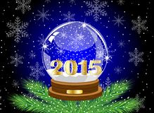 Glass festive ball with numbers 2015 year Stock Images