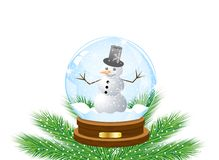 Glass festive ball with a snow man inwardly Royalty Free Stock Image