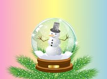 Glass festive ball with a snow man inwardly. Vector illustration Stock Photography