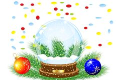 Glass festive ball, two marbles and varicoloured confettis Royalty Free Stock Photos
