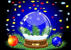 Glass festive ball, two marbles and varicoloured confettis Stock Image