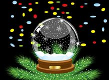 Glass festive ball and varicoloured confettis on a black  Royalty Free Stock Images