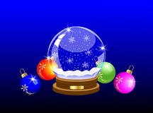 Glass festive ball and varicoloured marbles Royalty Free Stock Photography