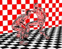 Glass Fighters. Illustration of glass figurine fighters royalty free illustration