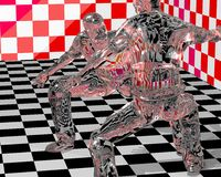 Glass Figurines Fighting. Illustration of glass figuring fighters Royalty Free Illustration