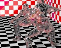 Glass Figurines Fighting. Illustration of glass figuring fighters royalty free illustration