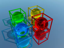 Glass figurines. Very colorful pieces of glass Stock Photography