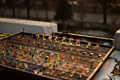 Glass figurines on a wooden board royalty free stock images