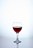 Glass filled with half red wine. One glass filled with half red wine Royalty Free Stock Photos