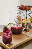 Glass filled with ice cold refreshing red sangria Stock Image