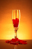 Glass filled with valentines with reflection Stock Image