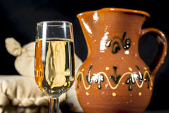 Glass of fino sherry. Manzanilla wine Stock Photography