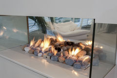 Glass fireplace Royalty Free Stock Image