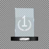 Glass first place award. Realistic mock-up of rectangular winner`s trophy on transparent background. Vector. Glass first place award. Realistic mock-up of Royalty Free Stock Images