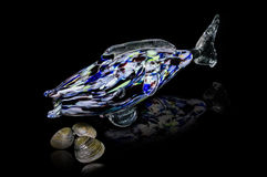 Glass fish on black background. Glass fish on black background with clams Royalty Free Stock Photos