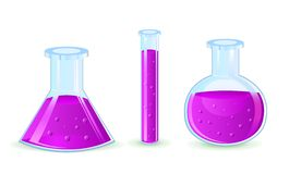 Glass flasks with violet substance Stock Image