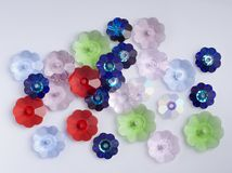 Glass flower beads stock photography
