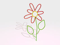 Glass flower. 3D simple glass flower isolated on white background Royalty Free Stock Photo