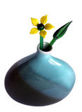 Glass flower in a vase. Yellow glass flower and glass leaf in a ceramic vase Royalty Free Stock Image