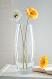 Glass flower vase stock photo
