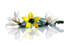 Glass flowers. And reflexion on a white background Royalty Free Stock Images