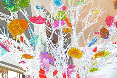 Glass flowers. A tree with flowers made of glass Royalty Free Stock Images