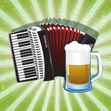 Glass of foamy beer and accordion Royalty Free Stock Photography