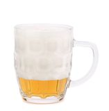 Glass of foamy beer on white background. 80%. Stock Photo