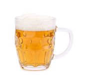 Glass of foamy beer on white background. 15%. Royalty Free Stock Image