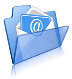 Glass folder and mail. Illustration of glass glossy folder with mail envelope Royalty Free Stock Photos