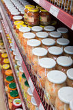 Glass food products and pickles in Russian food store Royalty Free Stock Photo