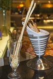 Glass and food. The restaurant Royalty Free Stock Image