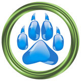 Glass footprints of a big cat Stock Photos