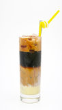 A glass of four layer iced milk coffee Royalty Free Stock Photo