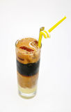 A glass of four layer iced milk coffee Royalty Free Stock Images