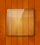 Glass Frame on Checkered  Abstract Woody Background. Vector Illu Stock Images