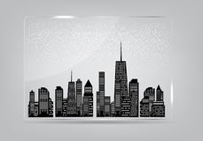 Glass frame with the city in the background. Stock Images
